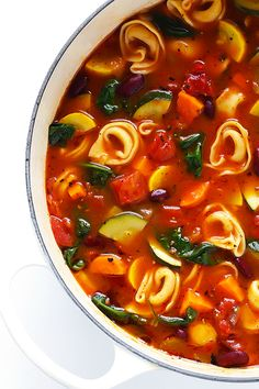 This Tortellini Minestrone recipe is overflowing with delicious veggies, and made extra-delicious with the addition of some cheesy tortel. Crock Pot Recipes, Cooking Recipes, Dutch Oven Recipes, Vegetarian Recipes, Healthy Recipes, Italian Soup Recipes, Veggie Soup Recipes, Healthy Food, Soup And Salad