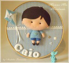 Para o Caio - Mama Mia Handmade Baby Crafts, Felt Crafts, Fabric Crafts, Diy And Crafts, Felt Name Banner, Baby Accessoires, Felt Wreath, Felt Fairy, Embroidery Hoop Art