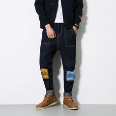(49.28$)  Watch more here - http://aivnm.worlditems.win/all/product.php?id=32793340769 - Fashion 2016New Baggy Elastic Harem Jeans Men Plus Size Taper Jeans Joggers Casual Hip Hop Legging Pants Pencil Jeans Calv Jean