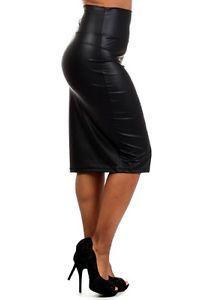 2015 Summer Women Plus Size 5XL 6XL Black Midi Pencil Faux Leather Skirt Saias Lapis Curto Femininas Ladies High Waist Skirts