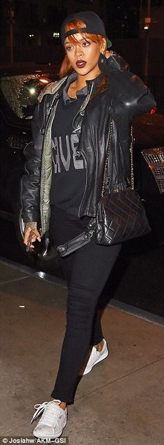 Tomboy chic: Wednesday's outfit was just one of Rihanna's casual looks over the last week....