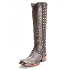 Dan Post Womens Simone Floral Embossed Square Toe Tall Cowboy Boots Brown