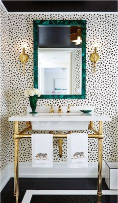 Bold powder room with black ceiling, emerald and gold accents | Ashley Manfred