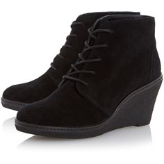 Dune Pip mid wedge heel lace up ankle boot ($115) ❤ liked on Polyvore featuring shoes, boots, ankle booties, short black boots, black suede ankle booties, ankle boots, black suede bootie and black suede booties