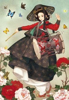 Korean Beauty by Illustrator 흑요석 (Obsidian)