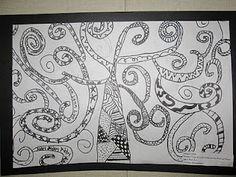 Gustav Klimt  tree of life inspired black sharpie and white doodle design 5th grade