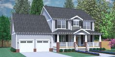 House Plan 2309-A The COLEMAN A  - Classical Two-Story Craftsman design with 3 bedrooms and 2 baths upstairs. Large, open living space with formal Dining and Study. Large Laundry Room with half bath. Two fireplaces and covered porches front and rear. 2-Car Garage with Bonus Room over.