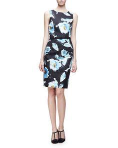 B375A Oscar de la Renta Sleeveless Floral-Print Day Dress, Black/Multi