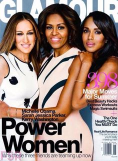 Power Women Cover Glamour Magazine First Lady Michelle Obama Kerry Washington Sarah Jessica Parker April 2015