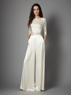 Create your own individual bridal style with our versatile and whimsical bridal separates! From essential and graceful tops to modern yet romantic skirts and trousers, our separates are for the free spirited and unique bride. Wedding Robe, Wedding Pantsuit, Elegant Wedding Dress, Wedding Attire, Elegant Dresses, Wedding Gowns, Formal Dresses, Trendy Wedding, Wedding Ceremony