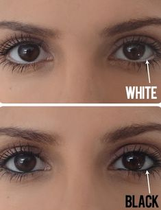 If you don't already own a white pencil, invest in one now just for this simple trick! Instead of lining your water line with dark eyeliner, use a white pencil to create the illusion of a bigger eye. If you squint your eyes a little at this picture comparison, you'll see what a difference it really makes.