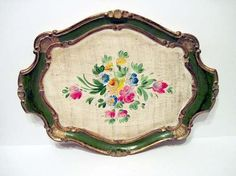 Very Large Wood Floral Tole Tray Hand Made in Italy