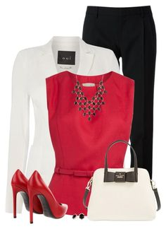 """""""Red, White and Black for the Office"""" by daiscat ❤ liked on Polyvore featuring Yves Saint Laurent, Oui, Kate Spade, Charlotte Russe and Principles by Ben de Lisi"""