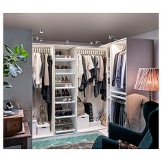 PAX Corner wardrobe, white, 63 This wardrobe combination is just as good looking on the outside as it is clever on the inside. Ikea Pax Corner Wardrobe, Ikea Closet, Diy Wardrobe, Wardrobe Design, Closet Bedroom, Open Wardrobe, Pax Closet, Bathroom Closet, Wardrobe Ideas