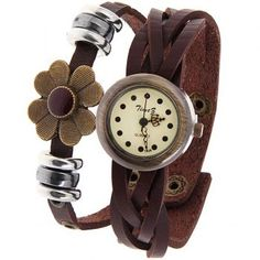 Time Z Women's Watch with Dots Hours Marks Round Dial Leather Band - Brown, BROWN in Women's Watches | DressLily.com
