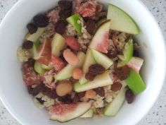 Crunchy apple, fresh fig, saltana, mixed bean and quinoa salad with tuna