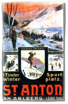 Anton, poster from way back then Vintage Ski Posters, Retro Poster, Sport Winter, St Anton, Snow Place, Tyrol Austria, Harry Potter Poster, Pub, Retro Illustration
