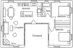 small u shaped house plans u shaped house plan u shaped house floor plans unusua. - House Plans, Home Plan Designs, Floor Plans and Blueprints Unique Floor Plans, Small House Floor Plans, Kitchen Floor Plans, U Shaped House Plans, U Shaped Houses, L Shaped Tiny House, The Plan, How To Plan, Home Design Plans