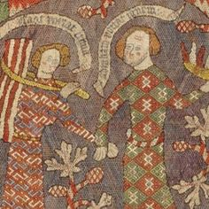 late 14th century. Made in probably Hildesheim, , Germany  Silk on linen, painted inscriptions