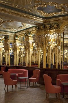 Grill Room at Café Royal Hotel. Gold mouldings, chandeliers and large mirrors? Yes, this is one luxurious dig where cocktails are made with champagne. More on http://bestbars.com/2014/01/29/grill-room-cafe-royal-hotel-london-bar/