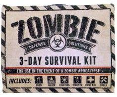 If youre ever faced with a zombie apocalypse or just a natural disaster, it makes sense to have some supplies on hand. This kit holds water, food, warmth, lighting, matches, tools, and a basic first aid kit that will keep you going for 3 days.