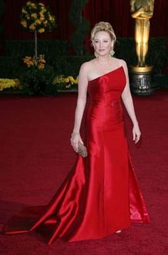 Virginia Madsen Red Satin Oscar Red Carpet Dress Celebrity Dress For Prom