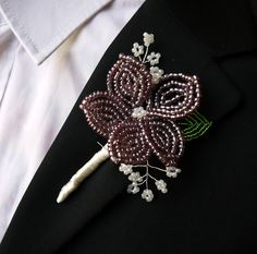 metallic purple lilac french beaded flower buttonhole boutonniere corsage lapel pin for groom usher guest made to order. $35.00, via Etsy.