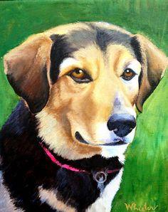 "Custom Pet Portrait 8"" x 10"" ORIGINAL ART  by Michelle B Wheeler - Acrylic Painting on Canvas - dog cat bird horse - Personal Gift"