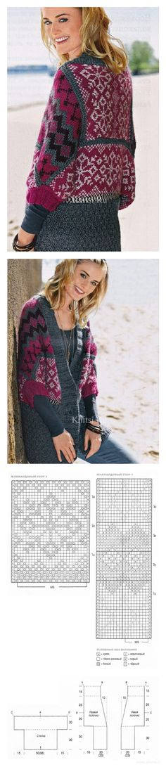 Fair Isle Knitting, Loom Knitting, Hand Knitting, Filet Crochet, Knit Crochet, Crochet Cardigan, Hand Knitted Sweaters, Cardigan Sweaters For Women, Fair Isle Pattern