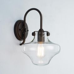 Modern Clear Schoolhouse Globe Wall Sconce - 4 Finishes