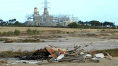 Asbestos dumped near the Pelican Point Power station. Picture: Campbell Brodie
