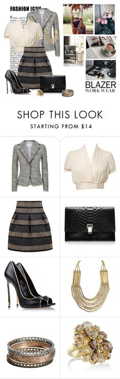 """Work"" by nikol128 ❤ liked on Polyvore featuring Made of Me, FABIANA FILIPPI, Miss Selfridge, Proenza Schouler, Casadei, Sonoma life + style, Pippa Small and workblazer"