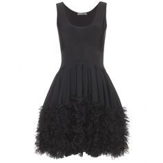 How fun is this dress?!? BLACK STRETCH DRESS WITH TIERED RUFFLE TRIM seen @ www.mytheresa.com