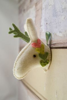 Soft hearts - felt mounted deer head