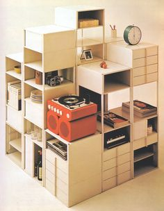 Stack-it up. Nice way to create a divider in a loft + storage