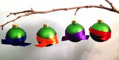 Green Turtle Set of 4 Christmas Ornaments. by MintMarbles on Etsy
