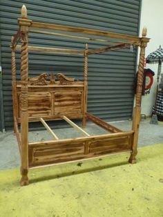 Dark Stain 4 poster king size bed hand carved from locally sourced wood. Ready to be picked up and shipped to Australia Home decor on a budget Bali Furniture, Balinese Decor, Four Poster Bed, Dark Stains, King Beds, Beautiful Bedrooms, King Size, Natural Wood, Teak