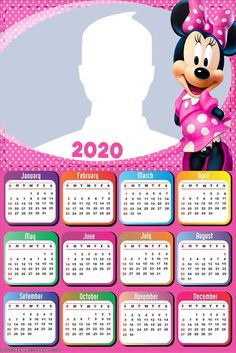 Minnie in Pink: Free Printable 2020 Calendar. Calendar Layout, Kids Calendar, Calendar 2020, Minnie Mouse Pink, Mickey Mouse, Minnie Rosa Png, Photo Frame Design, Christmas Frames, Blogger Templates