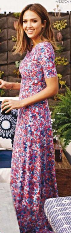 Who made  Jessica Alba's purple print maxi dress?