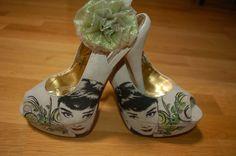 Hand painted Audrey Hepburn shoes