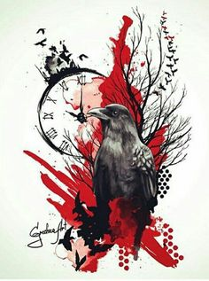 Red behind the raven keeps the piece from being too black