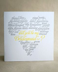 Will You Be My Bridesmaid Card- The fun array of words surrounding the important question on this Drippy Ink card will get your girls in the wedding spirit.