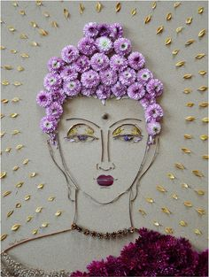 Print of original flower face by Vicki Rawlins Read Vicki's Flower Art Statement Hi-resolution print on premium quality archive paper with a matte finish Because of the 3D quality of the original art,