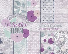 WATERCOLOR ROSE FLORAL Digital Paper Pack by ClipArtBrat on Etsy
