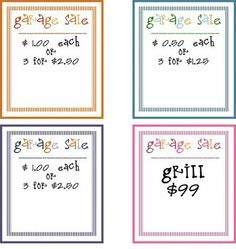 garage sale printables