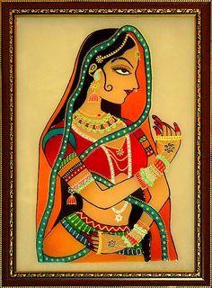 "my-hindi-alma: ""Indian Princess - Glass Painting """