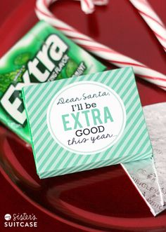 Printable wrapper + a pack of gum makes an easy #christmas gift! from www.sisterssuitcaseblog.com