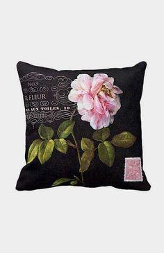 Pillow Cover Pink Rose Botanical Flower on Black