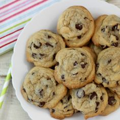 Dark Chocolate Chip Chewy Cookies - A dark, rich, chocolaty, gooey, chewy chocolate chip cookie made with extra dark chocolate chips. Only 84 calories a cookie.