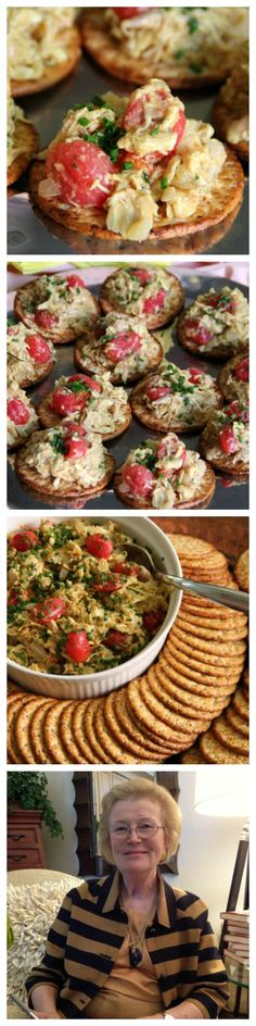 Coronation Turkey -- a lightly curried turkey salad topped with fresh cherry tomatoes makes a wonderful lunch or dinner salad, or a cracker-topper for an appetizer.